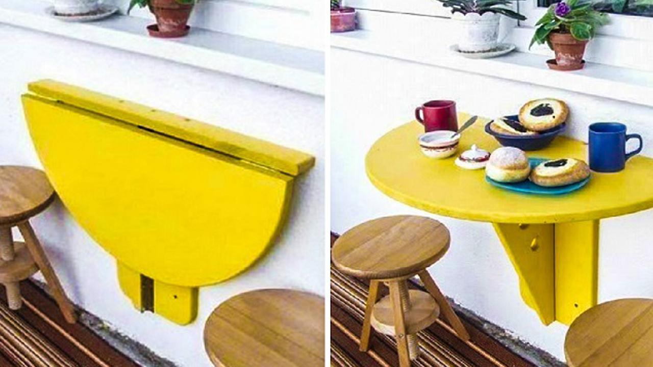 Этот складной самодельный столик отлично украсит ваш балкон..