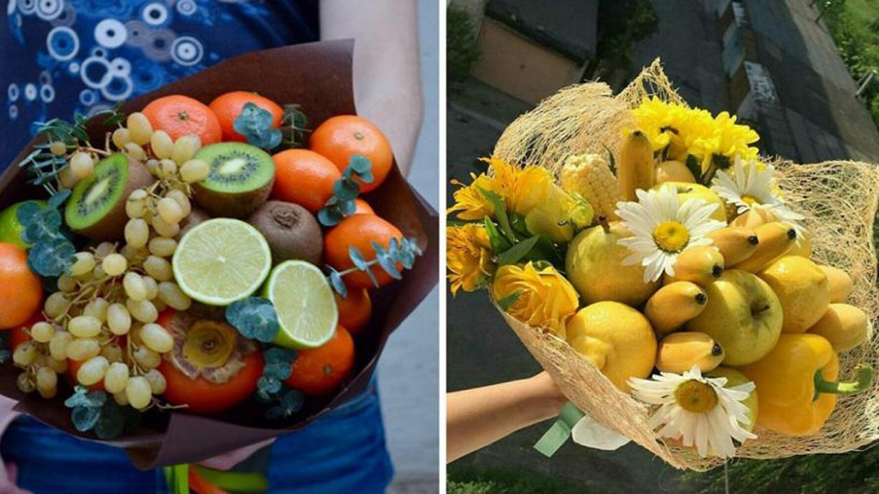 Букет подарочный из фруктов своими руками 80