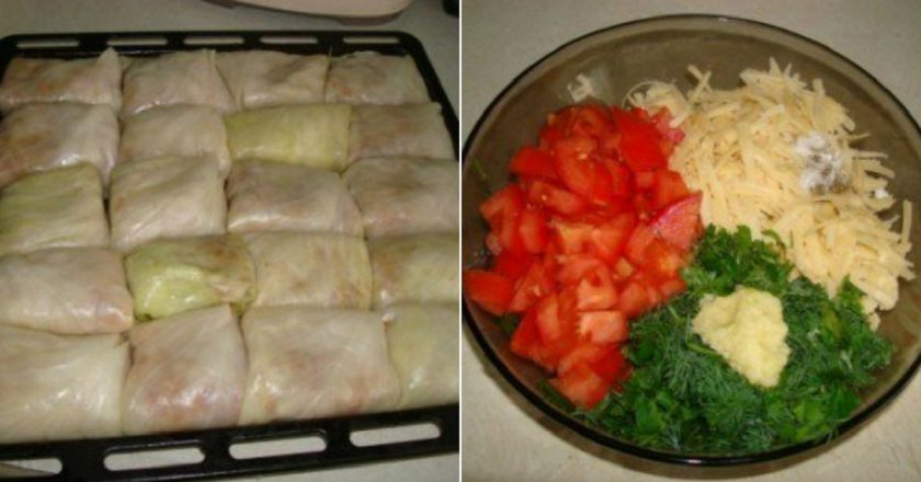 He put cabbage rolls on a baking sheet and put them in an incredible mix.