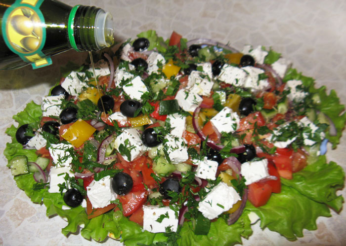 Favorite salads at the festive table at home