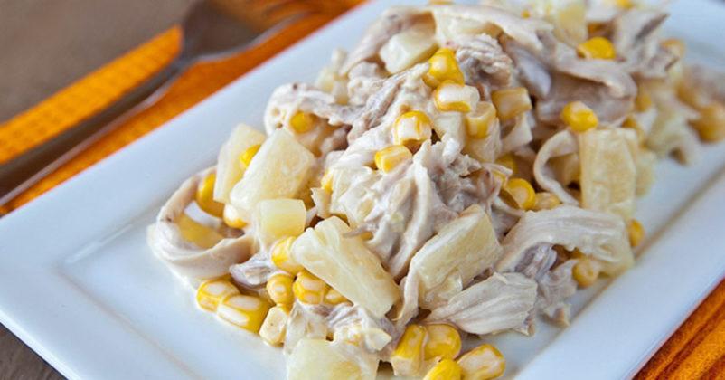 Салат с курицей и ананасом чесноком рецепт с пошагово