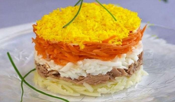 Салат мимоза с маслом рецепт с консервой пошаговый рецепт с фото