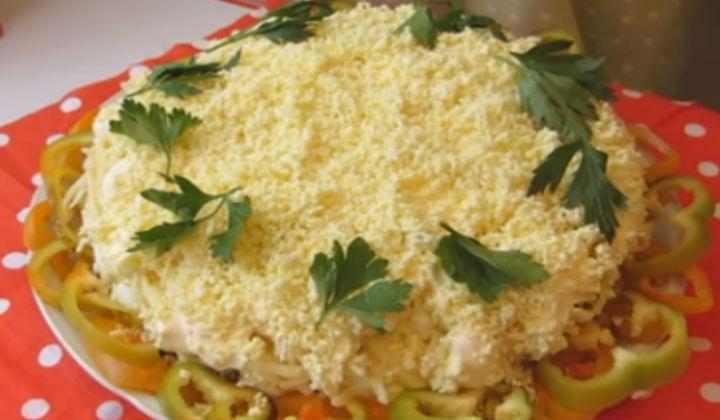 Салат мимоза с сайрой классический с рисом