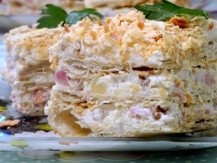 Napoleon - with ham and pineapple - New Year's cake
