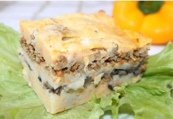 Запеканка с мясным фаршем и картофелем в духовке рецепт