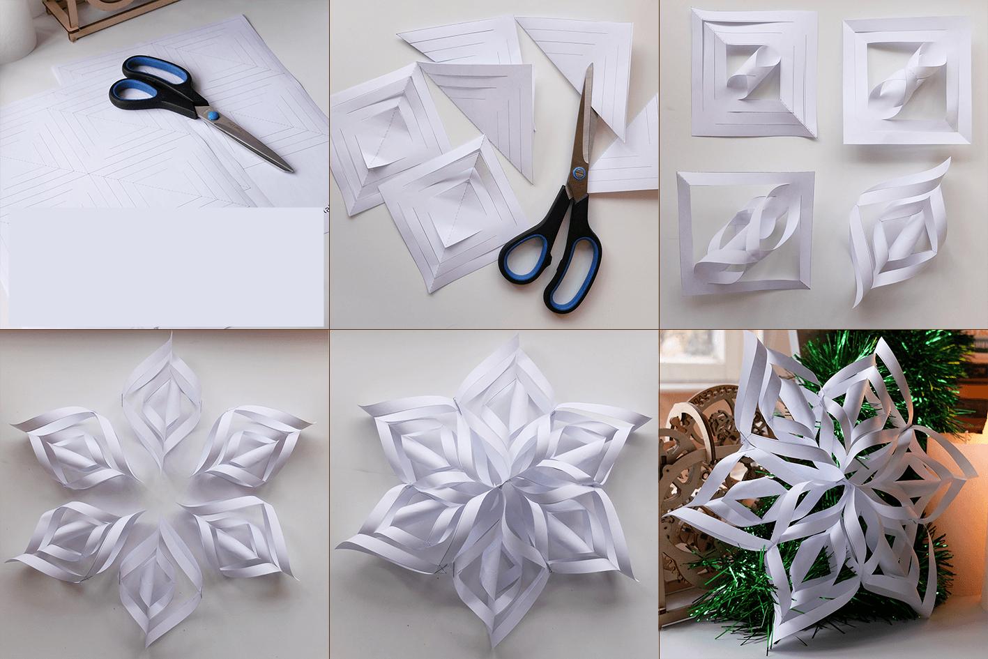 Снежинки из бумаги своими руками которые объемные фото 462