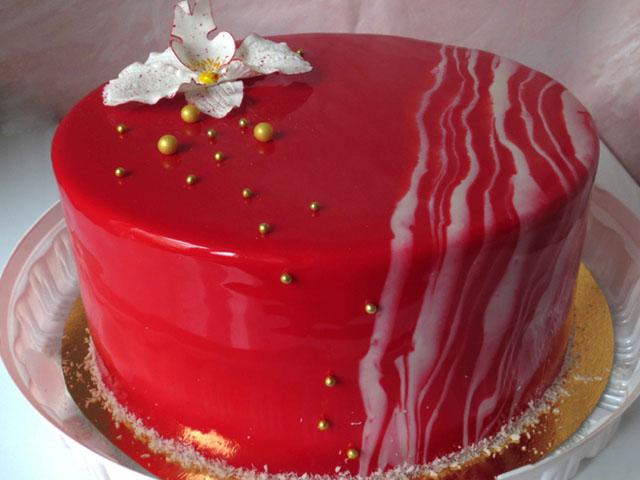Торт как сделать красный крем для торта 235