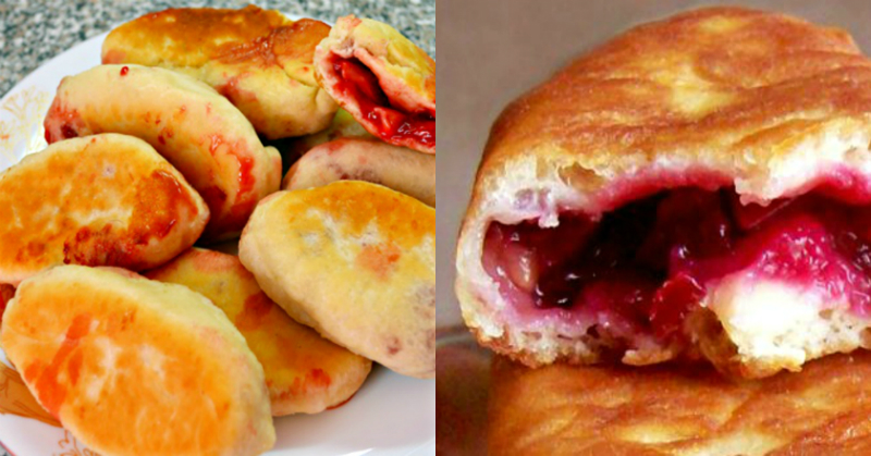 Из пакета кефира гора вкуснятины! Пышные жареные пирожки с начинкой из сочных ягод. Начинки из картофеля, капусты и повидла оставь для зимы!