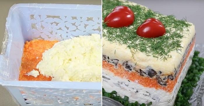 Королевский рецепт салата с шампиньонами