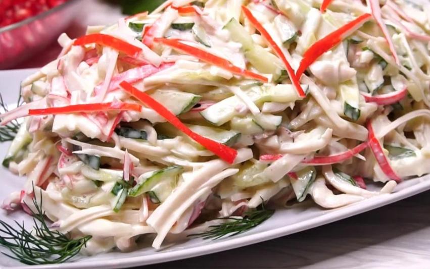 """Мечта гурмана"": спасибо маме за рецепт - чудесный салат с кальмарами"