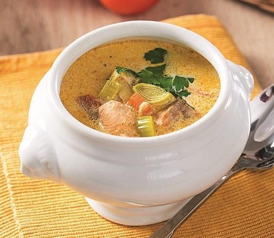 Рыбный суп со сливками. Вдвойне нежный вкус.