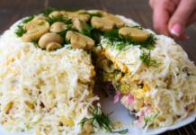 Рецепт закуски к новогоднему столу – слоеный салат «Славяночка»