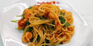 Сытное постное блюдо – итальянская паста с креветками и шпинатом