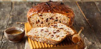 Хлеб без замеса с клюквой и грецкими орехами