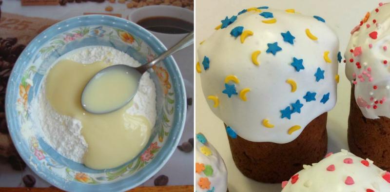Молочная глазурь для куличей: густая и глянцевая. Не ломается и не осыпается при нарезке!