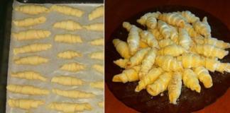 Рогалики из трех ингредиентов на тесте без сахара